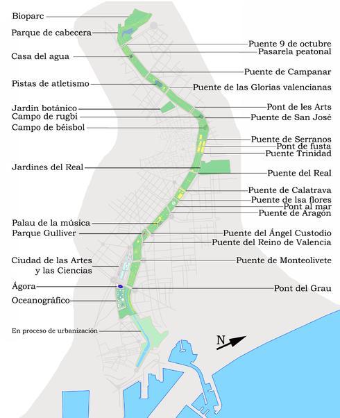 Imagen #2: Mapa de equipamiento público y puentes en el Jardín del Turia